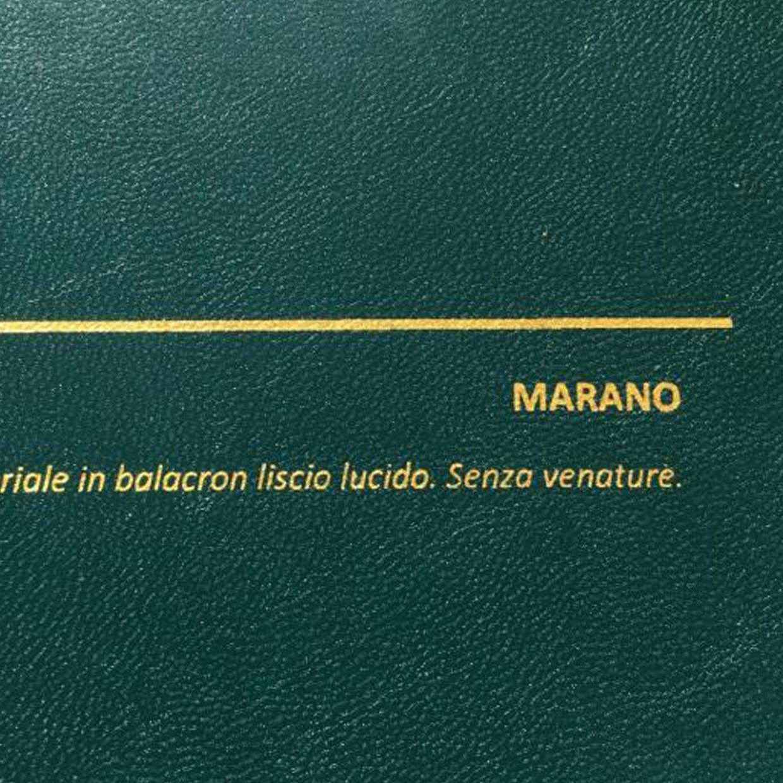 COVER MARANO VERDE PETROLIO: copertine rivestite in balacron lucido effetto similpelle liscio senza venature.