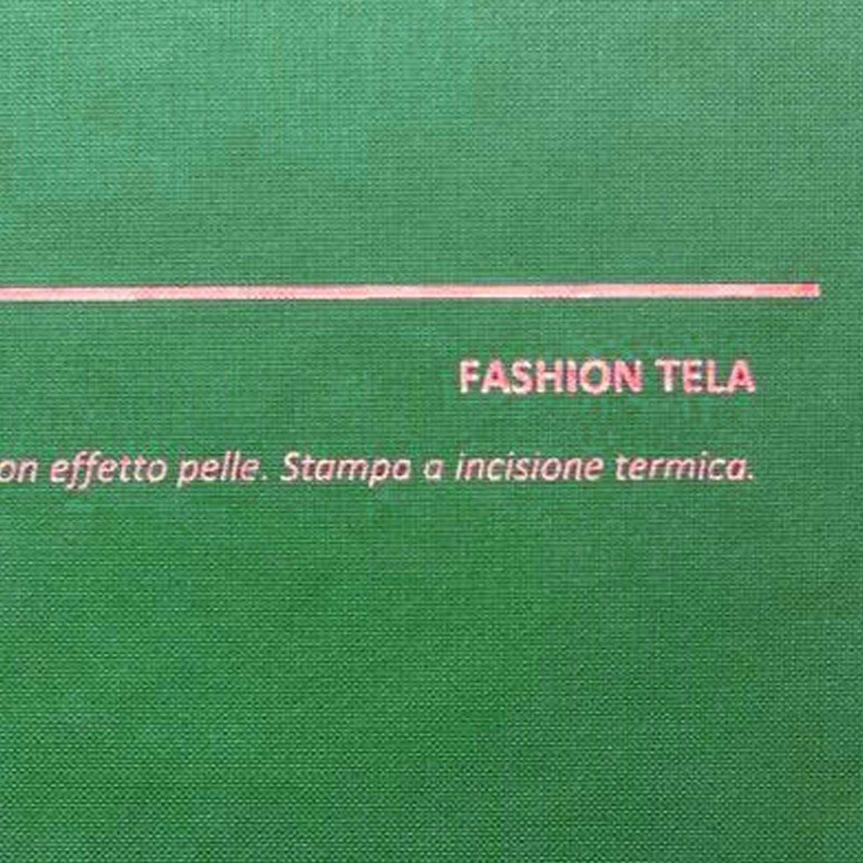 COVER FASHION TELA VERDE: copertine rivestite con un elegante e prestigioso materiale termovirante sintetico con effetto tela.